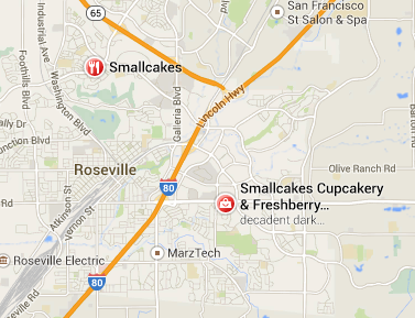 Map to Smallcakes Cupcakes Roseville locations